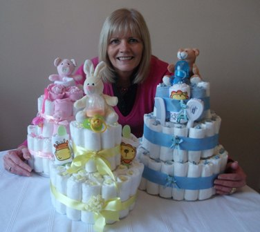Pat Richardson with Newborn nappy cakes