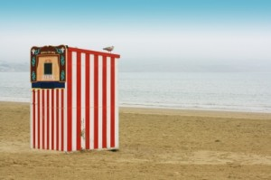 Punch and judy beach shot